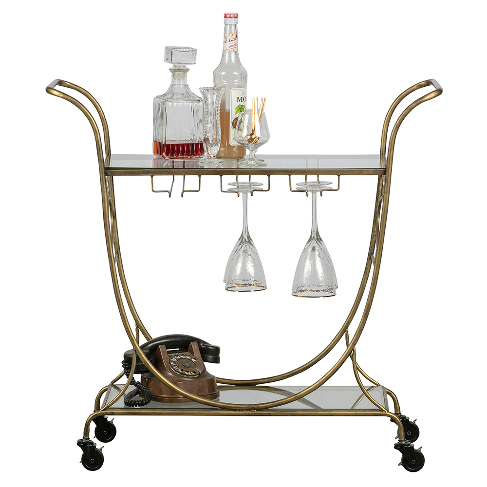 HOMESTOCK-DEEKHOORN-DECADENT-TROLLEY-METAAL-ANTIQUE-BRASS