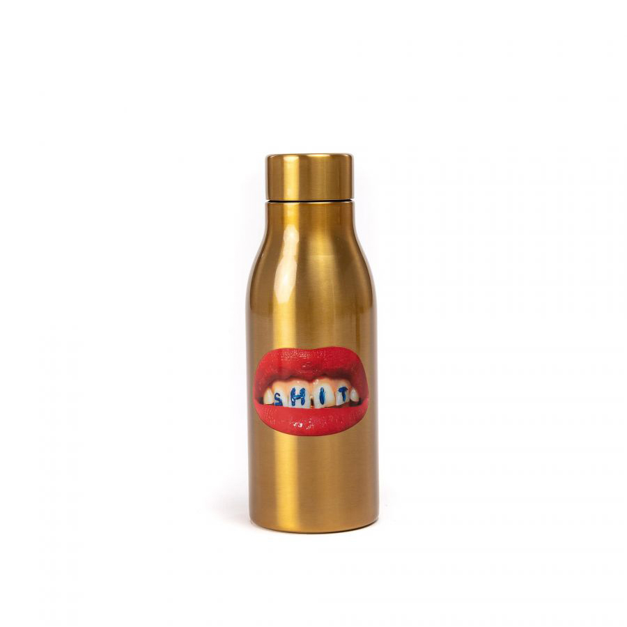 Seletti Thermo fles water bottle shit goud